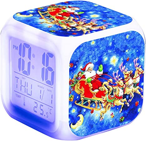 Queta Réveil Numérique Cartoon Réveil Cube avec 7 Couleurs Veilleuse 8 Sonneries Snooze Réveil en Plastique avec L'Heure, La Date, Le Jour de La