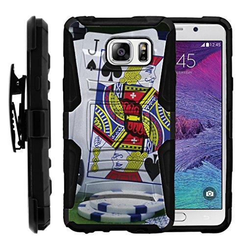 (TurtleArmor | Compatible for Samsung Galaxy Note 5 Case | N920 [Hyper Shock] Hybrid Kickstand Cover Holster Belt Clip Carry Holder Hard Protector Gambling Casino - Blackjack)