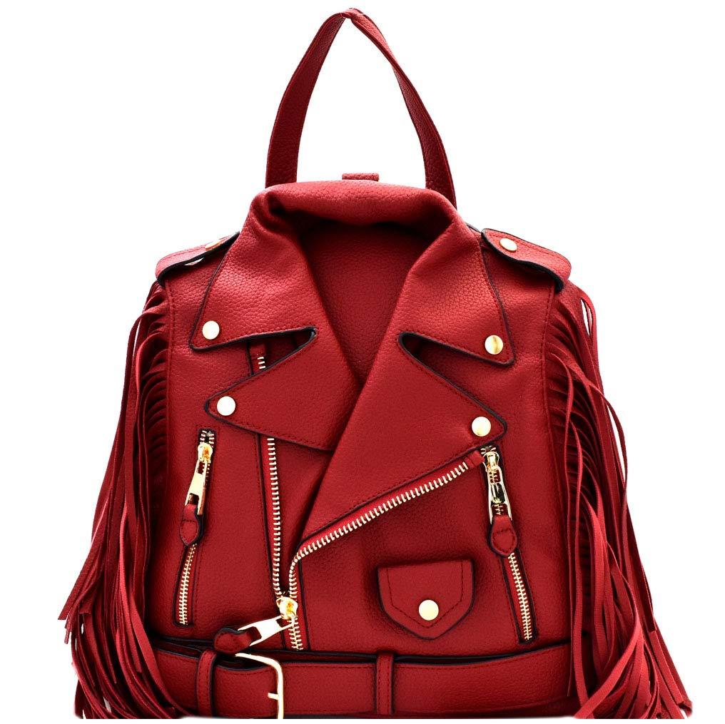 ویکالا · خرید  اصل اورجینال · خرید از آمازون · Moto Jacket Design Bike Vegan Leather Fringed Saddle Bag Fashion Backpack Purse wekala · ویکالا