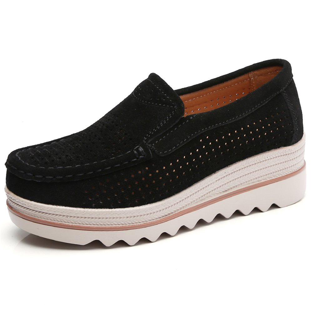 Sanyes Women Platform Slip On Loafers Comfort Suede Moccasins Wide Low Top Wedge Shoes SYSGX3088-Black Hollow-37