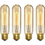 CTKcom Vintage Edison T10 40W Light Bulbs w/E26 E27 Base(4 Pack)-Tubular Nostalgic Filament Dimmable Incandescent Bulbs…