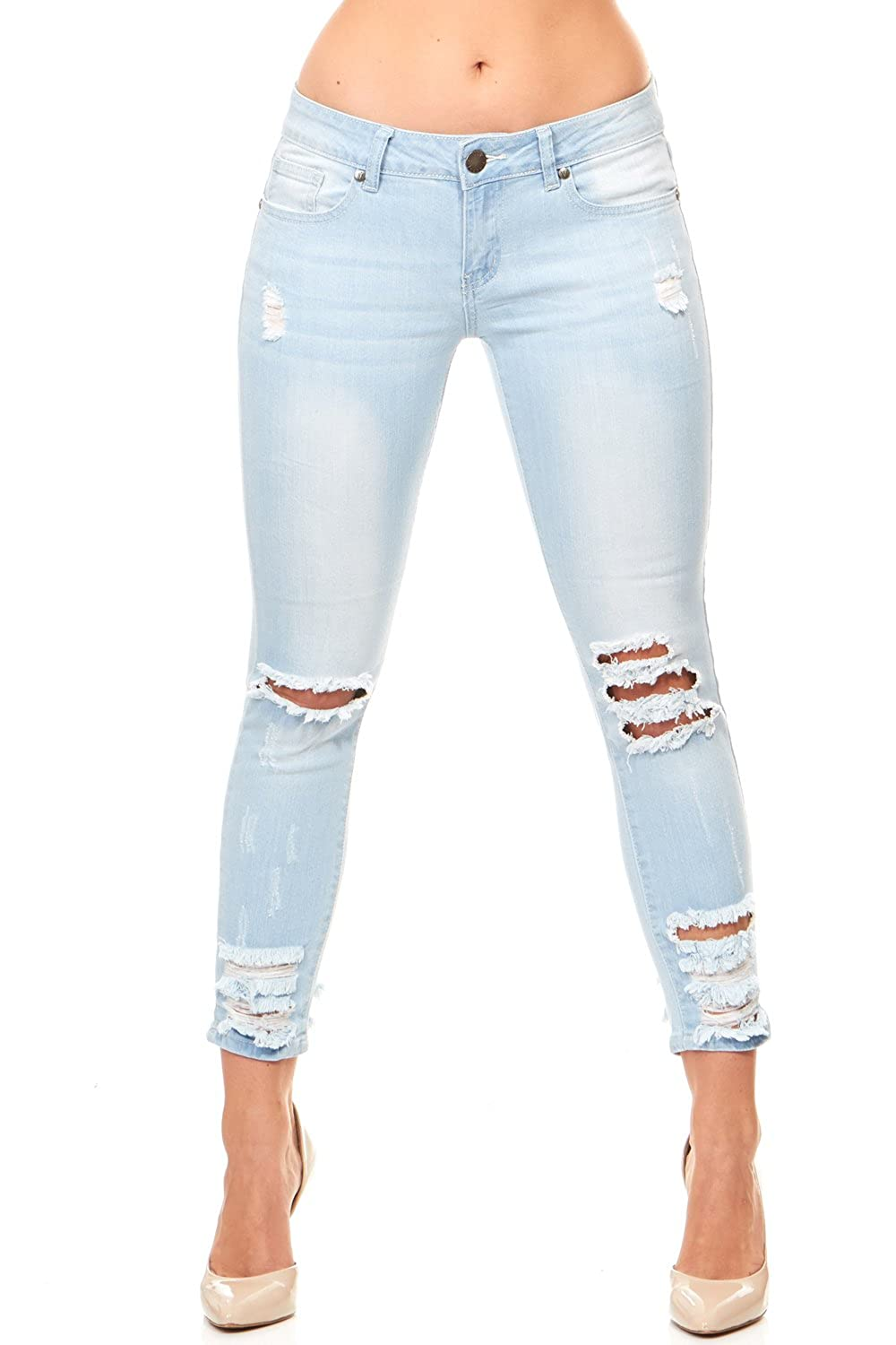Cover Girl Women's Cropped Ripped Distressed Skinny Jeans Junior Plus YDX Apparel