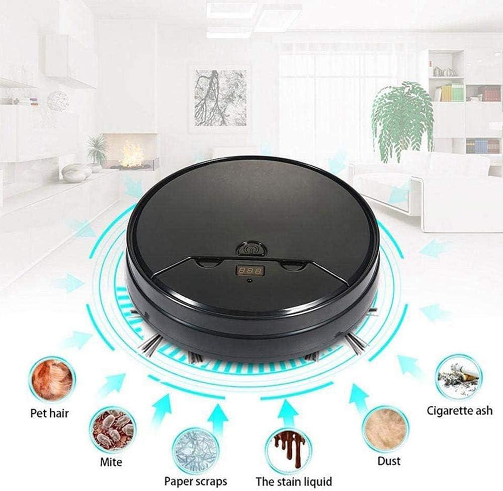 STKJ Robot De Balayage Intelligent, Maison Automatique Machine De Nettoyage Ménage Paresseux Appareil Aspirateur Intelligent,Noir Black