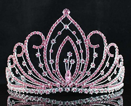 Janefashions Blossom Pageant Rhinestone Crystal Tiara Crown Hair Combs Bridal Prom t1294 Pink (Blossom Crown)