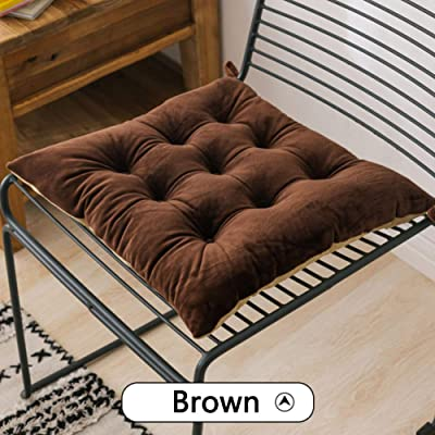 LT&NT Velvet Thicken Chair Pads, Square Seat Cushion Solid Color Floor Cushion Stool Cushions Mats with Ties for Office Dining Outdoor Tailbone Pain-Brown 40x40cm(16x16inch) 2 Pieces: Home & Kitchen
