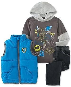 Kids Headquarters Baby Boys' Space Blast Off 3-Piece Vest, Hoodie & Pants Set
