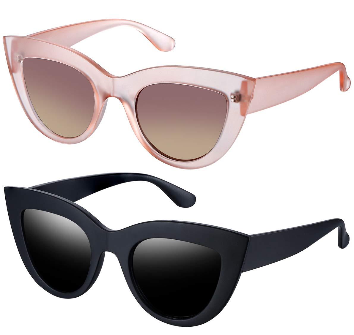 Joopin Retro Polarized Cateye Sunglasses - Women Vintage Cat Eye Sun Glasses UV400 Protection E8022 (Matte Black+Pink Tea) by Joopin