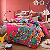 Norson Peacock Print Bedding Set,peacock Feather Bedding Sets,boho Style Bedding,bohemian Duvet Covers,queen,4pcs,no Quilt (Rose, King)