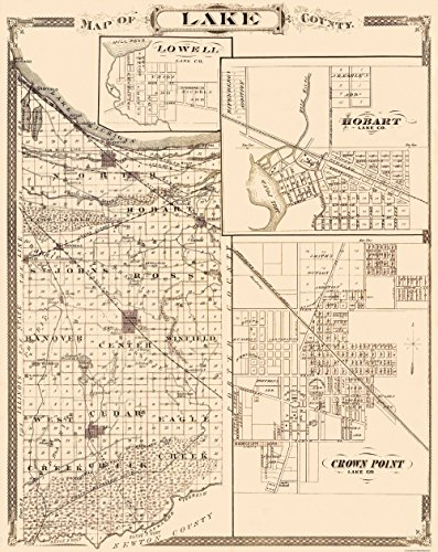 - MAPS OF THE PAST Lake Indiana - Andreas 1876-23 x 28.94 - Glossy Satin Paper