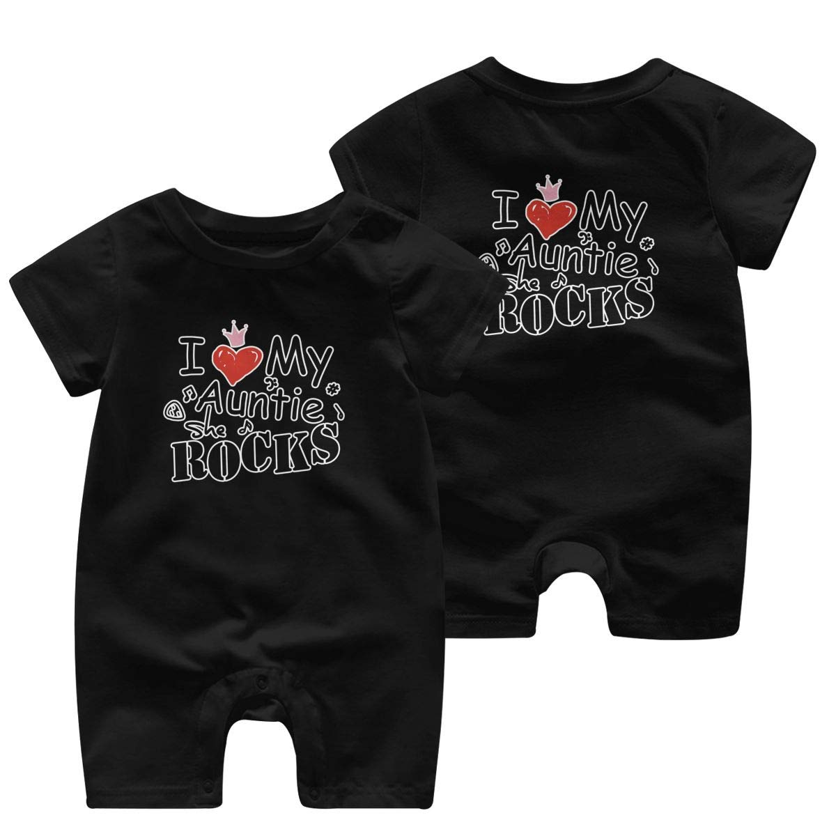 Baby Boys Girls Romper Jumpsuit I Love My Auntie She is Rock Newborn Short Sleeve Bodysuits Infant Outfit Funny Onesie for 0-2T
