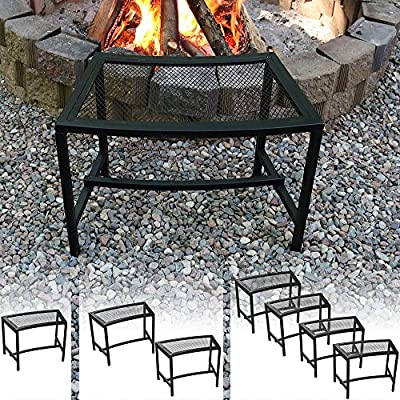 Sunnydaze Black Mesh Patio Fire Pit Bench, 23 x 16 Inch - Choose 1, 2 or Set of 4 Benches