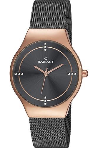 Reloj Radiant para Mujer con Correa Negra y Pantalla en Negro RA404604: Amazon.es: Relojes