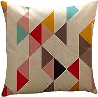 Kalmstore Geometric Decorative Linen Square Throw Pillow Case Cushion Cover for Sofa 18x18 (I)