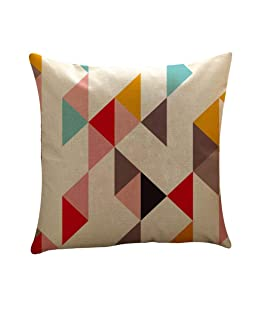 Kalmstore Geometric Decorative Linen Square Throw Pillow Case Cushion Cover for Sofa 18x18 (I)
