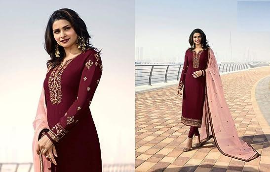 Amazon.com: Marron Seda Georgette Churidar Salwar traje con ...