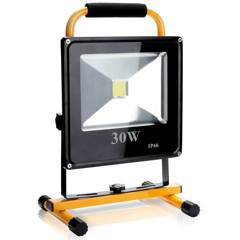 Hengda 50W LED Baustrahler Akku Strahler Arbeitsscheinwerfer IP66 Bauscheinwerfer Warmwei/ß Flutlicht Lampe f/ür Campinglaterne Werkst/ätte Baustelle oder Garage