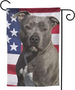 "UTWJLTL Garden Flag Pitbull American Flag Dog Decorative Flag Double Sided 12.5"" X 18"" Weather Resistant Outdoor Welcome Flag for Yard Patio Garden Outdoor Decor"