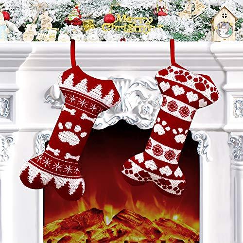 2 Stück Nikolausstumpf Hund, 45 x 24cm Nikolausstiefel zum Befüllen, großer Weihnachtsstrumpf Hundknochen Design als Weihnachtsgeschenktasche, Weihnachtsdeko zum Aufhängen für Kamin, Weihanchtsbaum