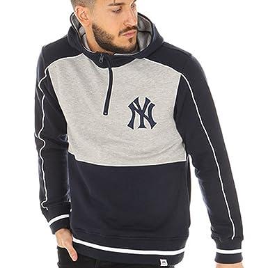 Majestic Sudadera Capucha MLB New York Yankees Fleece Letterman Gris/Azul Talla: XXL (