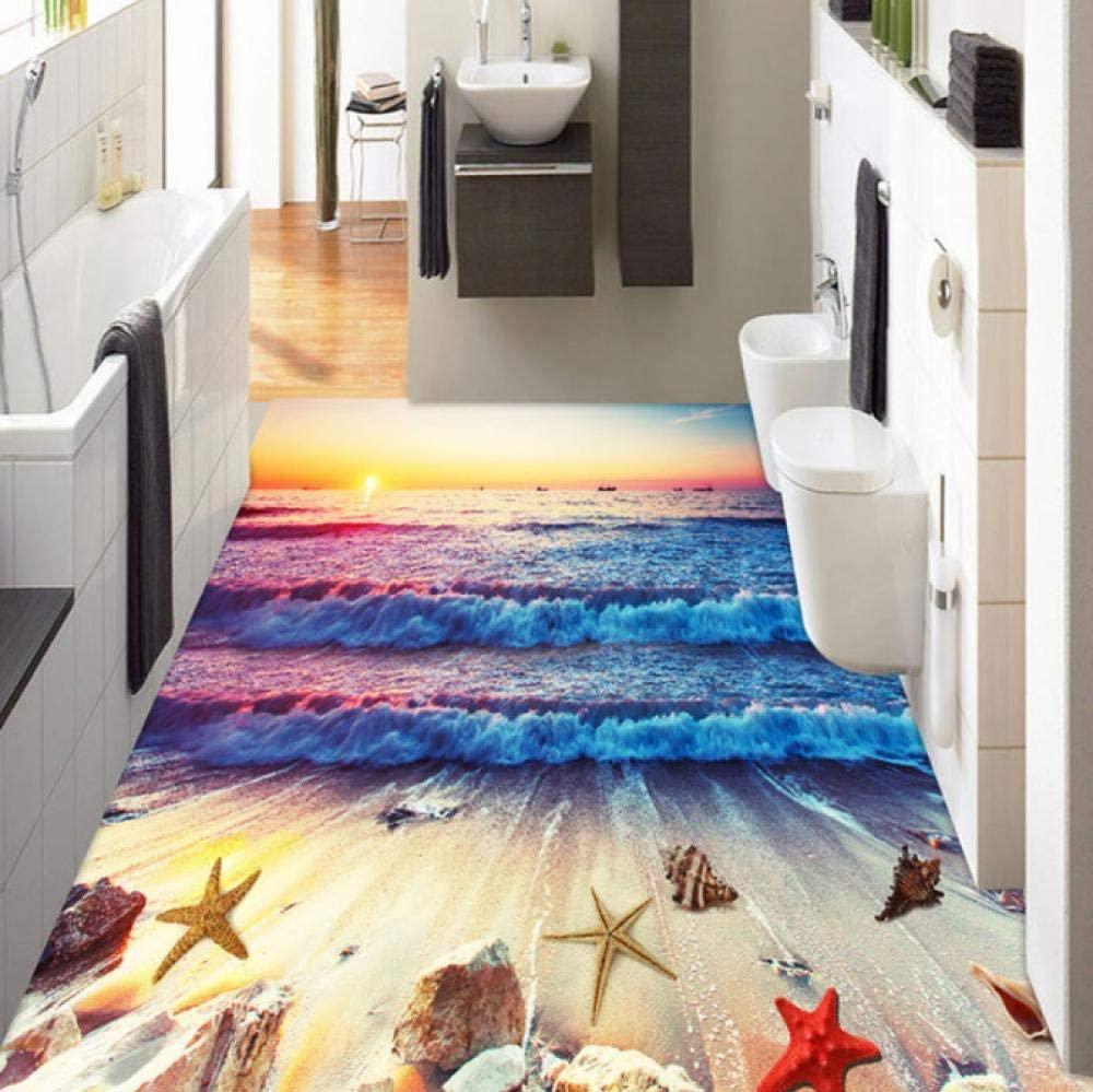 Mazhant Custom 3D Floor Tiles Mural Wallpaper Colorful Sunset Beach Sea Waves Flooring Wall Paper Dormitorio Pvc Vinyl Wallpaper Sala-140X100cm