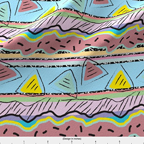 80s Fabric Postmodern Rocky Road by Elliottdesignfactory Printed on Cotton Spandex Jersey Fabric by the Yard by Spoonflower (Rockies Jersey Road)