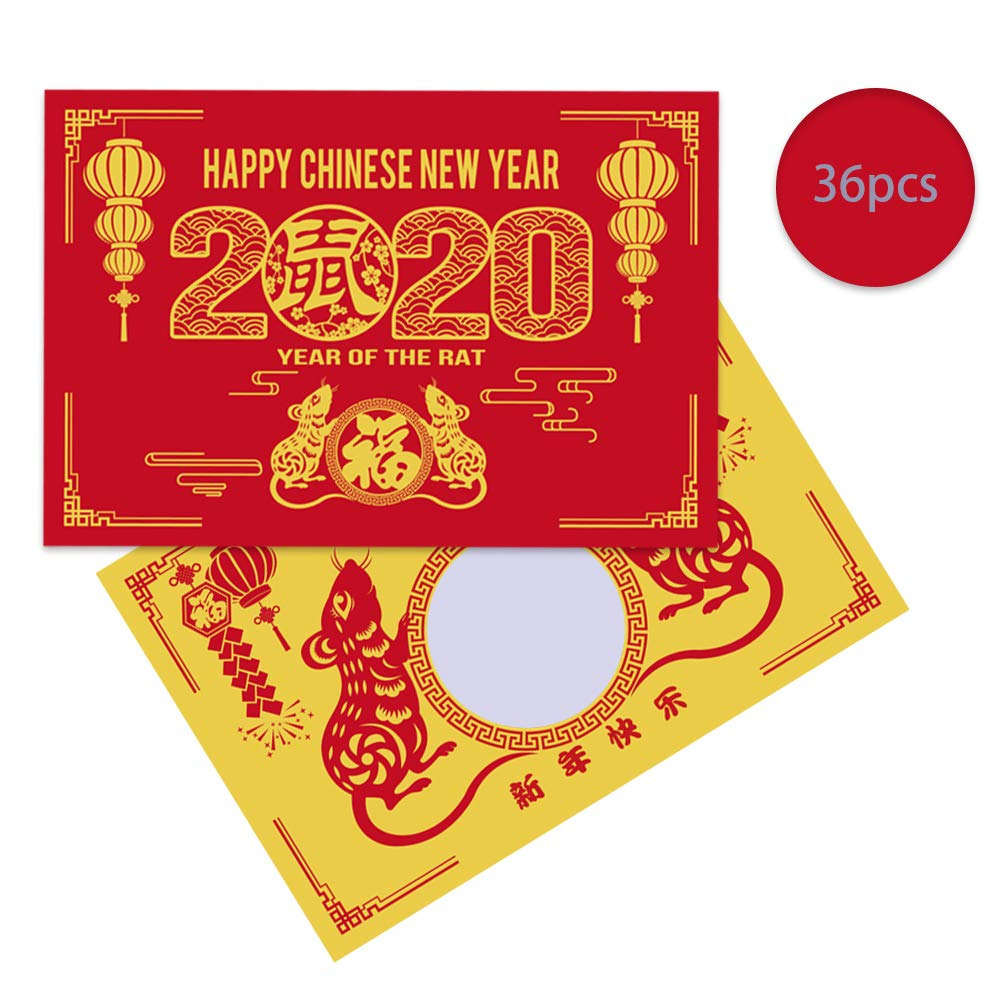 36 Pieces FaCraft 2020 Chinese New Year Scratch Off Fortune Cards Year of The Rat Party Fortune Games Laminated Fortune Teller Cards