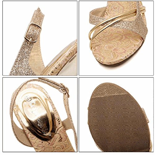 SHEO sandalias de tacón alto Las mujeres de lado dedo del pie vacío muy bien con hebilla de oro tacones altos 10cm