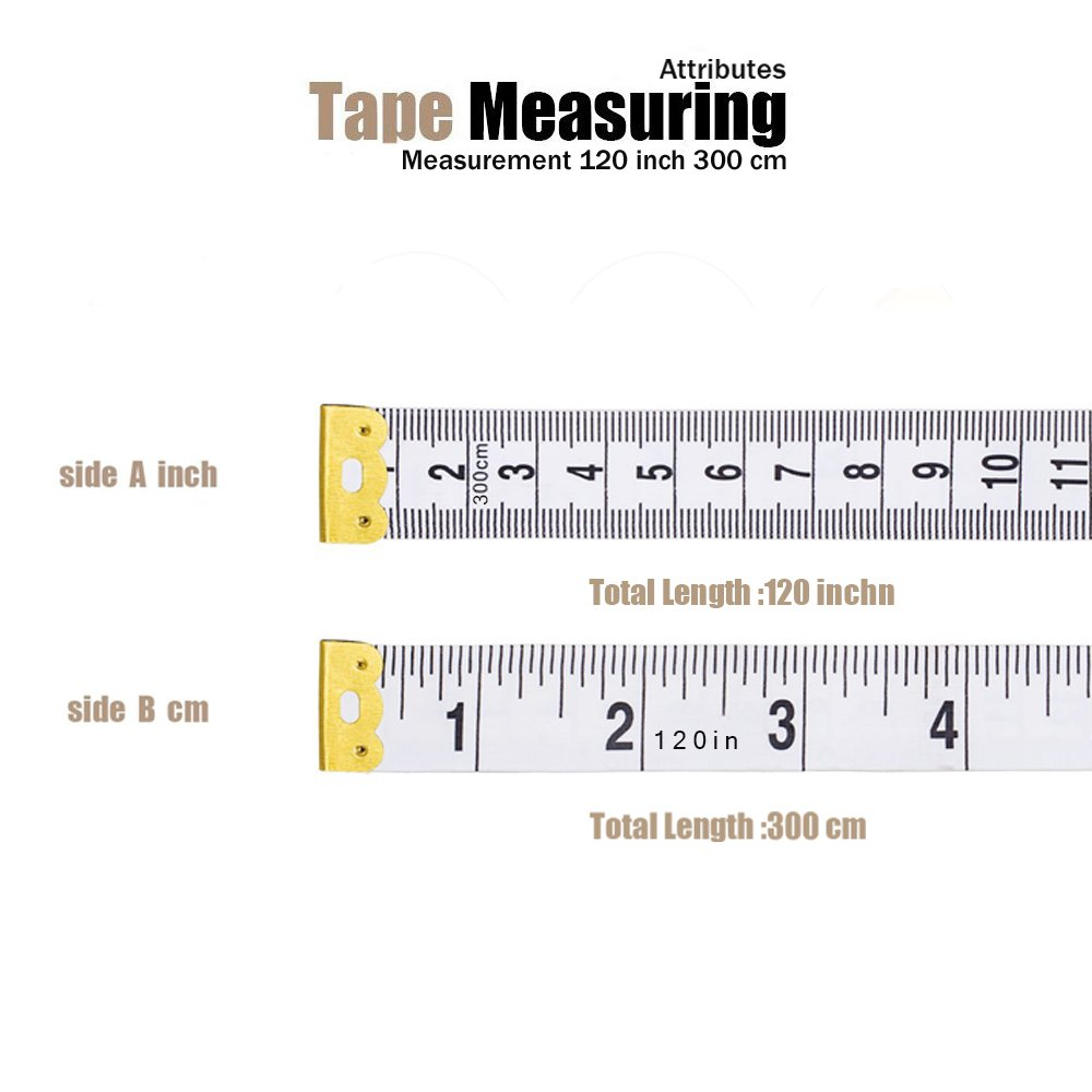 By BUSHIBU 5Pack Tape Measure 300cm//120 Inch Double-scale Soft Tape Measuring Body Weight Loss Medical Body Measurement Sewing Tailor Cloth Ruler Dressmaker Flexible Ruler Tape Measure Yellow