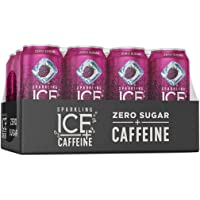 Caffeine Black Raspberry Sparkling Water, with Antioxidants and Vitamins, Zero Sugar, 16 fl oz Cans (Pack of 12) - 1