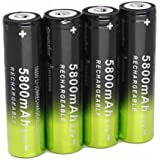 Malloom 4 x 5800mAh Li-ion 3.7V 18650 batería recargable para linterna lámpara antorcha