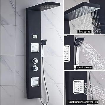 AuraLum Panel multifunción columna de ducha termostático baño ...