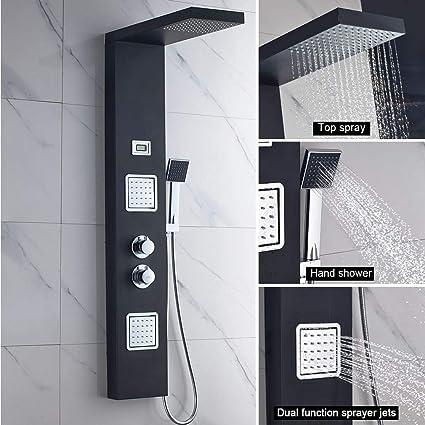 AuraLum Panel multifunción columna de ducha termostático baño completo con la cabeza de ducha de acero inoxidable Rain Cascada 1236x 68mm 200x