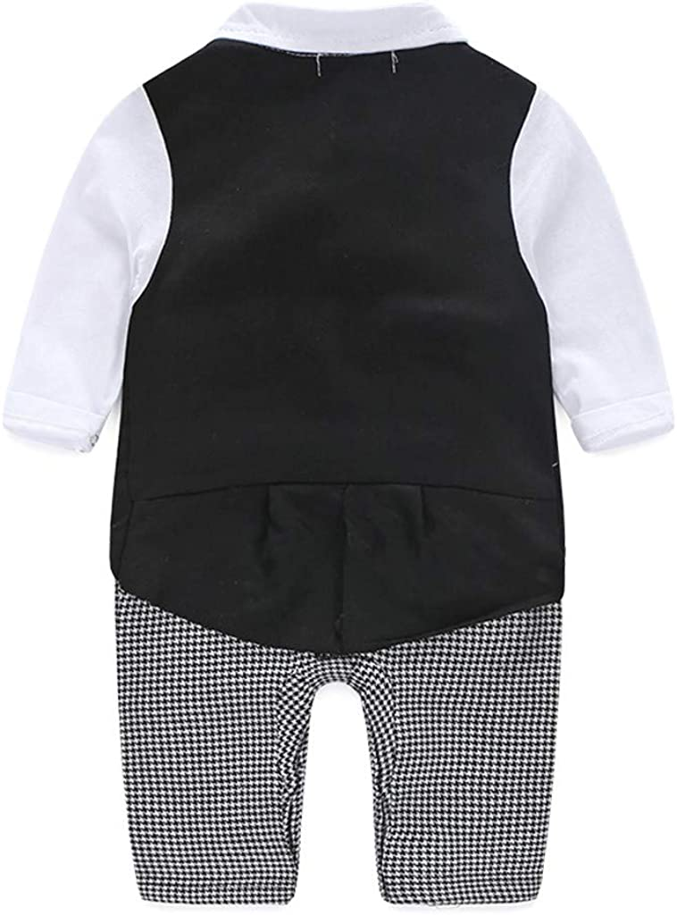Harpily Baby Boys Tuxedo Outfits Gentleman Romper Jumpsuit with Bow Tie Wedding Suit 0-24 Months