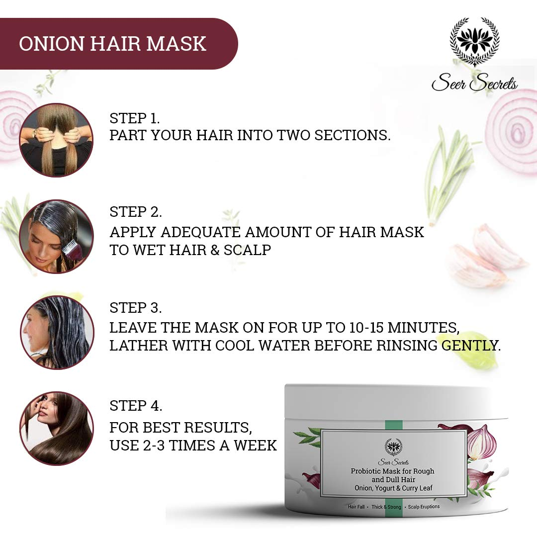 Seer Secrets Probiotic Onion Hair Mask for Rough & Dull Hair | Deep  Conditioning | Treats Damaged, Dry and Frizzy Hair - 200gm: Amazon.in:  Beauty