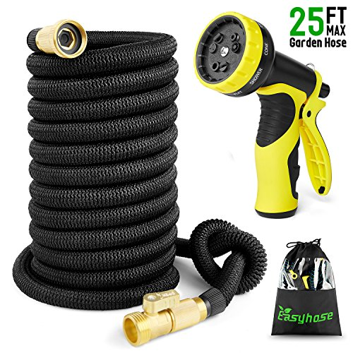 EASYHOSE Expandable Garden Hose -25 foot Black Extra Strength Stretch Material with Brass Connectors – Bonus 9 Way Spray Nozzle+Free Storage Bag+12 Months Manufacturers Warranty (25ft, Black)