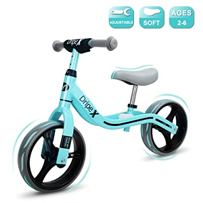 Dripex 12 Inch Baby Balance Bike Lightweight No-Pedal for Toddlers and Cub Ages 2-6 Year Old Girls and Boys Cyan: Sports & Outdoors