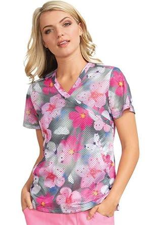 30105a85e10 Amazon.com: KOI Lite Women's Bliss Mock Wrap Animal Print Scrub Top ...