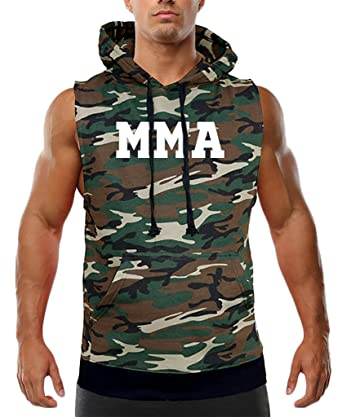 cae233c53c5f9 Men's Old School MMA V441 Camo Sleeveless Vest Hoodie Camo at Amazon ...