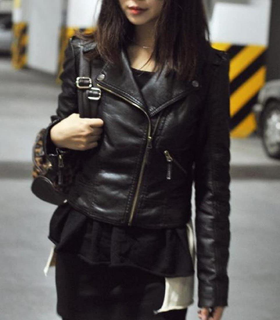 Abetteric Womens Slim Tailoring Leather Jackets Short Coat with Zips