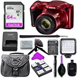 Canon PowerShot SX420 IS (Red) with 42x Optical Zoom and Built-In Wi-Fi with 64GB SD Memory Card + Mini Stable Tripod and Grip + LED Video Light Accessory Bundle