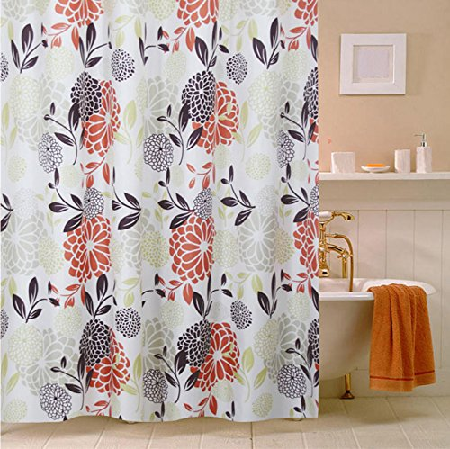 Europe Type Vintage Flowers Waterproof and No More Mildew Shower Curtain Liner Bath Stall Curtain Used as Stand Alone or Liner Polyester Fabric 72x72inch