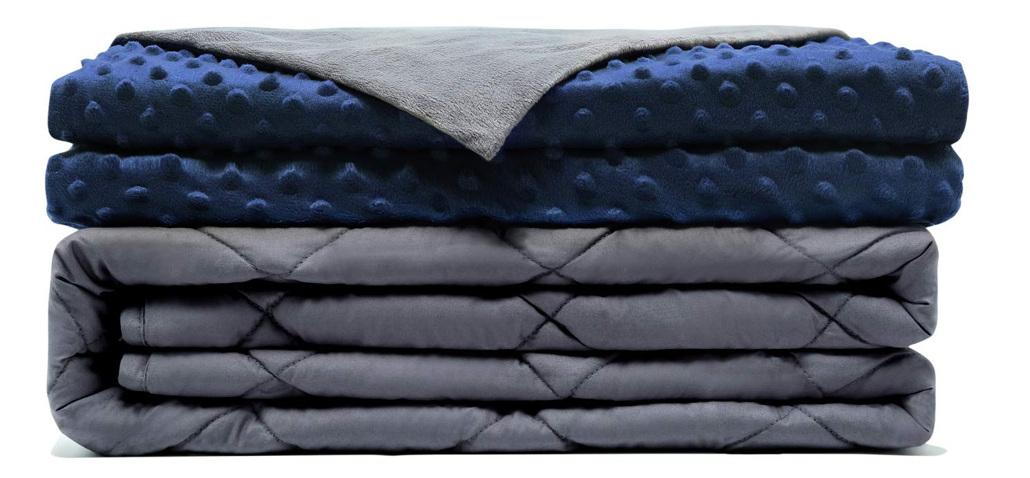 Comfamille Weighted Blanket with Blue Removable Cover | Twin Full Queen King Sized Sleeping Blanket | 41''60'',10 Lbs | Kids/Adult | Cotton Material with Premium Glass Beads by COMFAMILLE