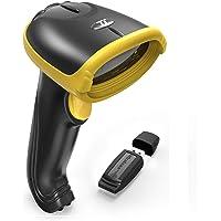 Lecteur Code Barre 2-en-1 TaoTronics, Barcode Scanner 2.4Ghz Sans Fil & Filaire, Scanner Codes Barres USB avec Processeur 32 Bit, Récepteur Portable Sans Fil avec Batterie Interne 700mAh