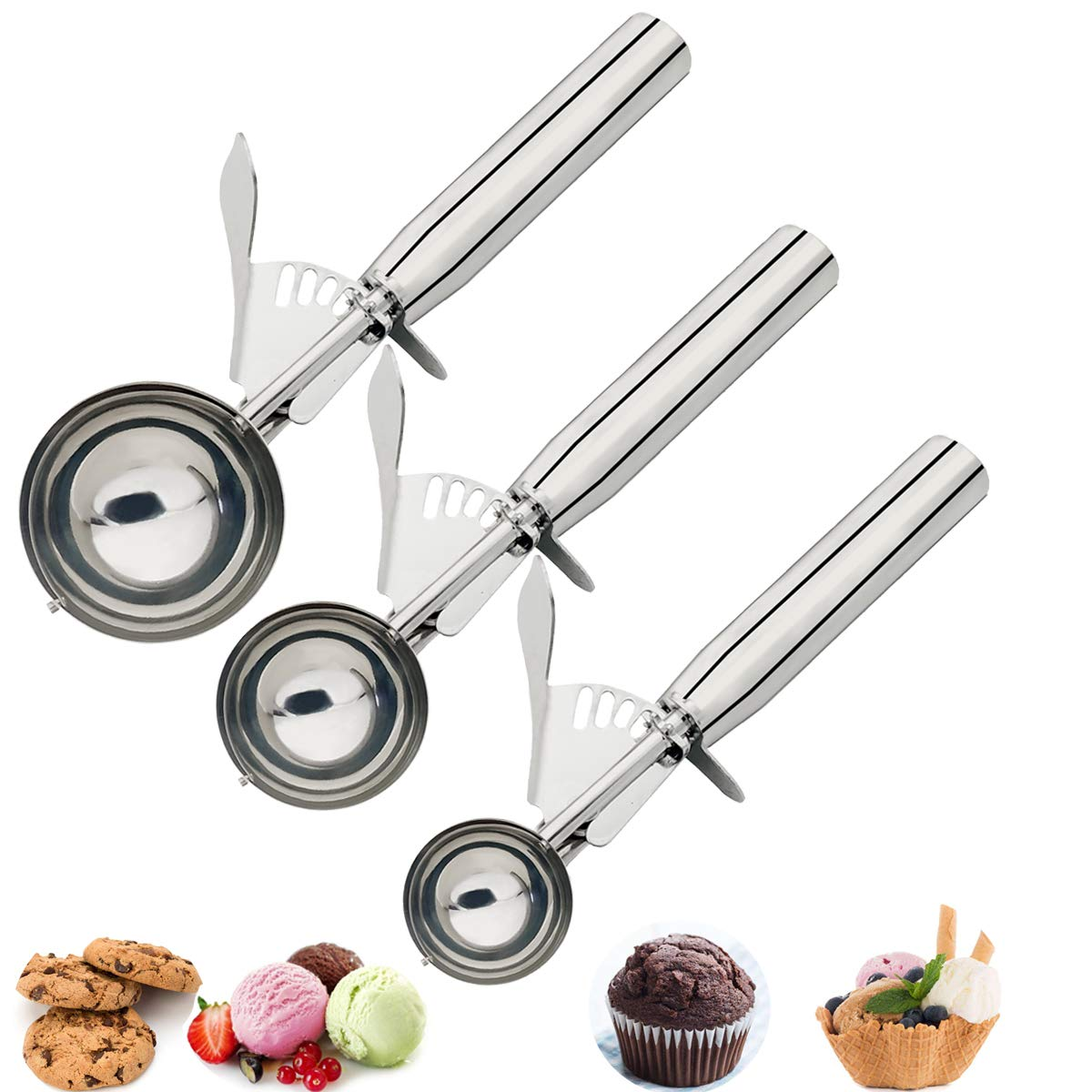 Cookie Scoops Set of 3, Excellent 18/8 Stainless Steel Ice Cream Scoop Set, Perfect for Cookie, Ice Cream, Cupcake, Muffin, Meatball by HOMURE H