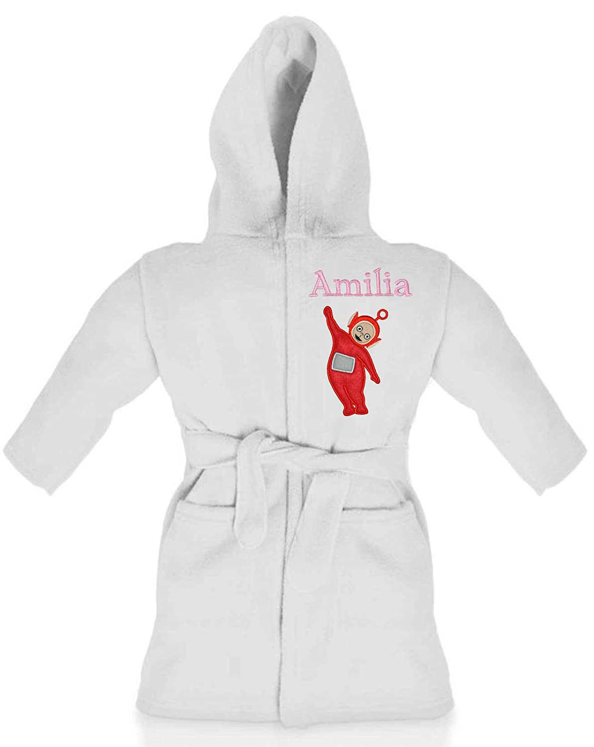 Oh Sew Simple Po (Teletubbies) Girls Personalised Fleece Dressing Gown/Bathrobe (White) Teletubbies - Dipsy
