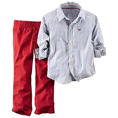 24dbeb12171 Carter s Infant Boys 2 Piece Outfit Red Pants   Blue   White Stripe ...