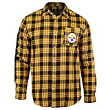 FOCO NFL Mens Wordmark Flannel Shirt, San Diego Chargers, Small, Blue