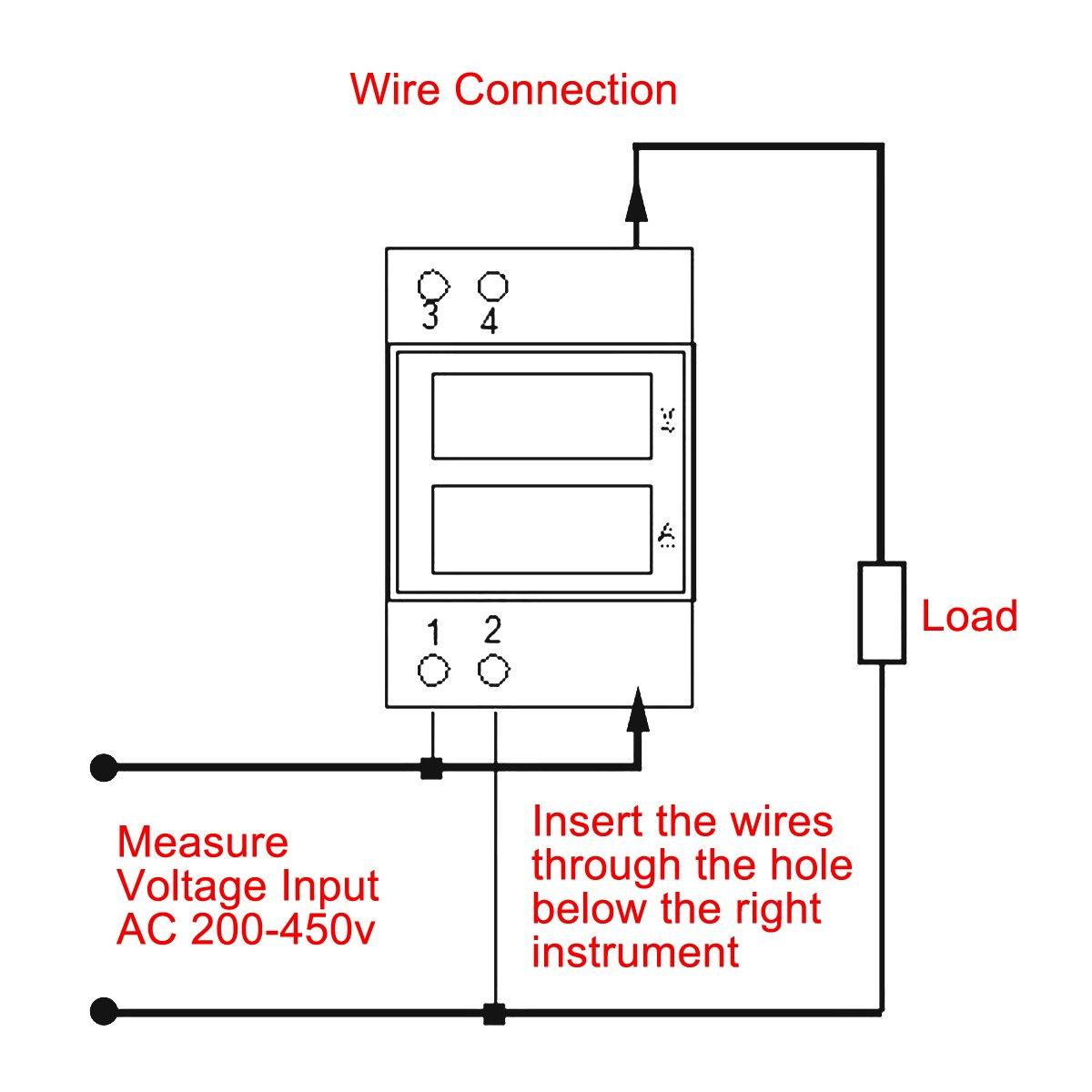 Drok Micro Ac Volt Amp Meter Digital Voltage Ampere Tester 380v 999 Monitor Wiring Diagram 999a Current Red Green Led Dual Display Multimeter Ammeter Gauge Din Rail