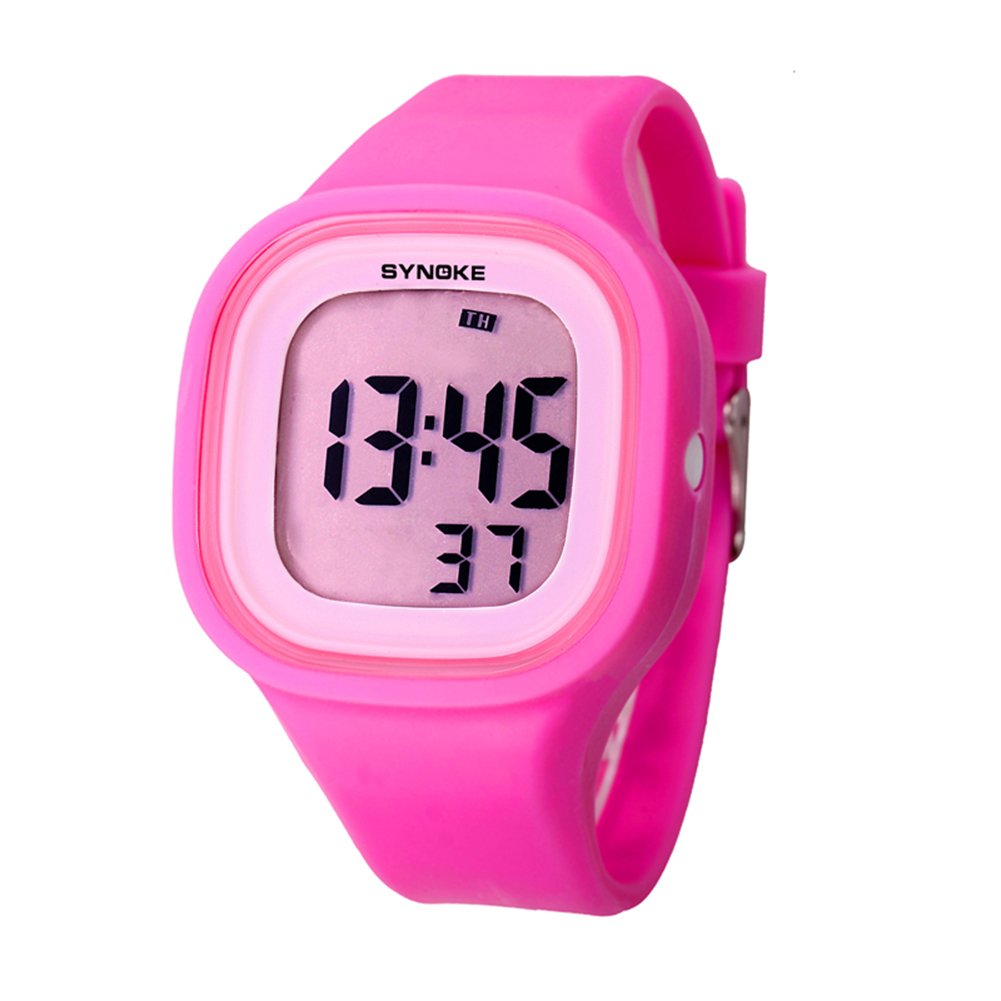 Pink Kids Teens Students Digital Watch for Girls