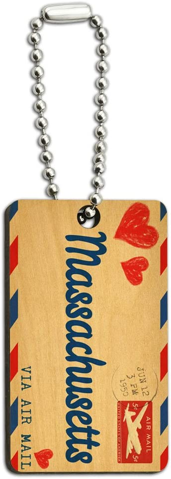 Graphics and More Air Mail Postcard Love for Massachusetts Wood Wooden Rectangle Key Chain